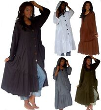@Z1101 HOODED COAT JACKET BUTTON DOWN POCKETS MADE TO ORDER S TO 5X LOTUSTRADERS