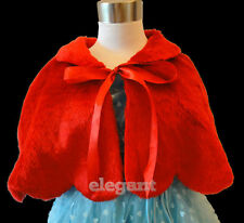 Red Faux Fur Children Kids Flower Girls Wedding Short Jacket Cape Coat 1-9 Year