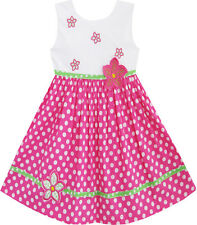 Sunny Fashion Girls Dress Pink Dot Flower Embroidered Sundress Size 2-6