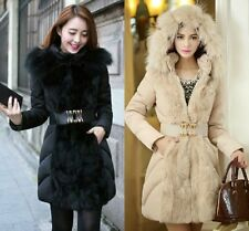 NEW Winter Duck Down Coat Women's Fur Trim Collar Belt Hooded Long Parka Jacket