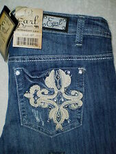 Earl Straight Leg Womens Size 10P, 14P Stretch Denim Blue Jeans Crystals New $54