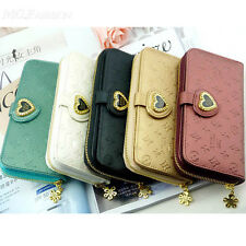 Lady Women Heart Purse Long Zip Wallet Card Coin Mobile Phone Bag PU Handbag