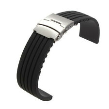 Deployment Buckle Waterproof 18mm ~ 24mm Silicone Rubber Watch Strap Band Black