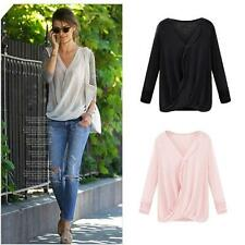 Stylish Womens Long Sleeve Blouse Tops Casual V-neck Stitching Chiffon Shirt Top