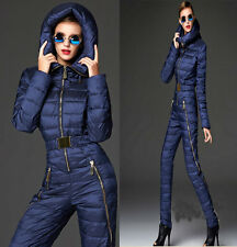 Winter Outdoor 80% down skiing coats sets slim women thick zipper jumpsuits
