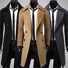 Winter Men's Long Double Trench Coat Overcoat Windbreaker Wool