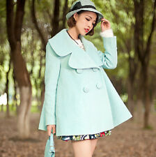 Women Double Breasted Golilla Big Polo Collar Wool Blend Coat Cloak Thick Jacket