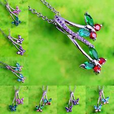 Xmas Present Amethyst Pink &Blue Topaz Ruby Spinel Gems Silver Pendant Necklace