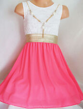 GIRLS GOLD TRIM  WHITE LACE NEON PINK CHIFFON DIP HEM PARTY DRESS with NECKLACE