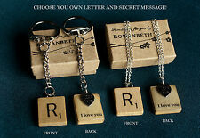Handmade Custom Wooden Scrabble Tile SECRET MESSAGE Necklace/Keyring - CHOOSE