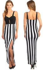 NWT VOGUE HOT WOMENS BLACK WHITE HIGH SLIT SWEETHEART SLEEVLESS MAXI LONG DRESS