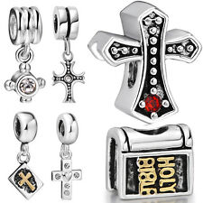 New Cross Theme Pendant Silver charms Bead Fit lot DIY Sterling Bracelets Bangle