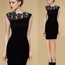 Women Sexy Elegant Floral Crochet Club Party Evening Bodycon Lace Dress Black