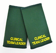 Pair Clinical Team Leader CTL Ambulance Medic Epaulette Slides Sliders Badges C2