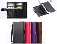 "Universal PU Leather Wristlet Purse Wallet Case F Vary Phone Model 5.0"" to 5.5"""