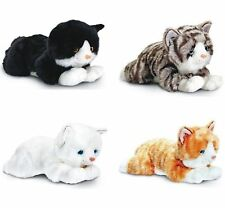 KEEL 25cm LAYING CATS WHITE, GINGER TABBY, BLACK & WHITE, GREY TABBY SOFT TOYS