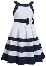 Bonnie Jean Girls White & Navy Striped Summer Easter Holiday Dress 7 - 16 New