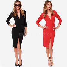 Sexy Women Deep V Neck Slit Front Long Sleeve Slim Fit Bodycon Party Club Dress