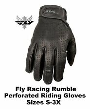 Fly Racing Leather Rumble Perforated Gloves Motorcycle Riding Streetbike