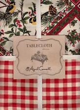 April Cornell Christmas Tablecloth Red Gingham Border Yellow Birds Holly