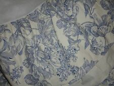 """WAVERLY LAPIS BLUE & WHITE FLORAL TWIN, FULL OR QUEEN BEDSKIRT 15"""" NOT SPLIT"""