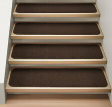 Set of 12 ATTACHABLE Carpet Stair Treads CHOCOLATE BROWN runner rugs