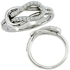 0.33 G-H Diamond Love Knot Promise Anniversary Bridal Women Ring 14K White Gold