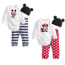 Mickey Minnie Mouse Baby Infant Girl Boy Outfits Cotton Shirt Jumpsuit