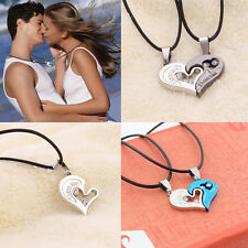 Men Women Lover Couple Necklace I Love You Heart Shape Pendant Stainless Steel