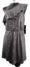 New Kensie Pewter silver sequin leopard print dress with one shoulder