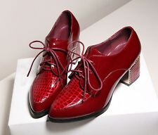 Sz2.5-7 Block Heels Lace Up Pointed Toe Stitching Womens Shoes New Arrival
