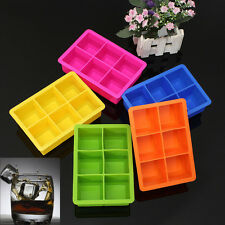 6-Cavity Large Silicone Drink Ice Cube Pudding Jelly Soap Mold Mould Tray Tool