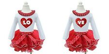 Red White Pettiskirt Tutus LOVE Twins White Tees Valentine's Day Party Dress