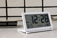 Big LCD Portable Digital Travel Alarm Clock Thermometer Snooze W Case 683