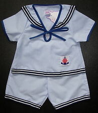 BABY BOY SAILOR OUTFIT, Pale Blue & White, Very Thin Striped Suit, Ages 0-4 Yrs