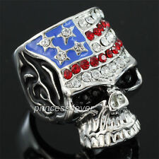 Skull Ring US Flag use Swarovski Crystal  SR177