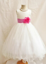 Ivory with watermelon pink sash tulle bridesmaid dancing party flower girl dress