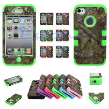 Hot Tree Camo Rubber Triple Layer Hybrid Hard Case Cover For IPhone 4 4S 5 5S