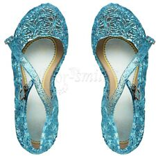NEW Toddler Kids Girls Princess Fancy Dress Up Cosplay Jelly Flower Shoes Blue