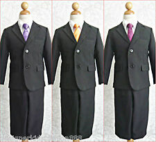 Toddler teen boy black formal wedding party dress suit color long tie all sizes