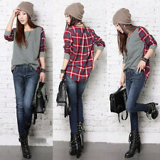Women Ladies Plaid Checked Long Sleeve Casual Loose T shirt Tops Blouse