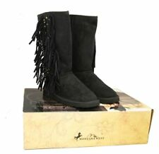 Montana West Boots Womens Western Fringe Collection Winter Shoes Lacing Black