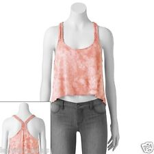 Mudd Braided Racerback Swing Tank Top Tie Dye Design Hi Low Hem Juniors NWT