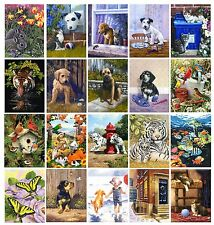 A4 BRAND NEW DESIGNS PUPPY DOG & CAT KITTEN PAINTINGS PAINT BY NUMBER COLLECTION