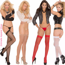 Lace Top Fishnet Thigh Hi High Stockings One Size Regular & Plus Size