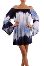 New Si Avance Blue Colo Tie Dye Prinr Bell Sleeve Tunic Dress Blouse Poly S M L