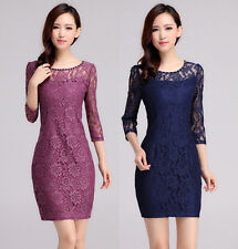 2015 Hitz high-end models with female long-sleeved lace dress stitching
