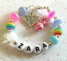 personalised girls bracelet rainbow sparkle CHOOSE charm and name in gift box
