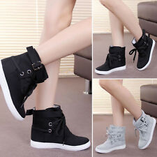 Women Fashion Lace Up Buckle Strap Athletic Sneakers Trainers Casual Flats Shoes