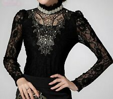 NWT Black Lace Victorian Beaded Embroidered Top Blouse size M, L,XL!